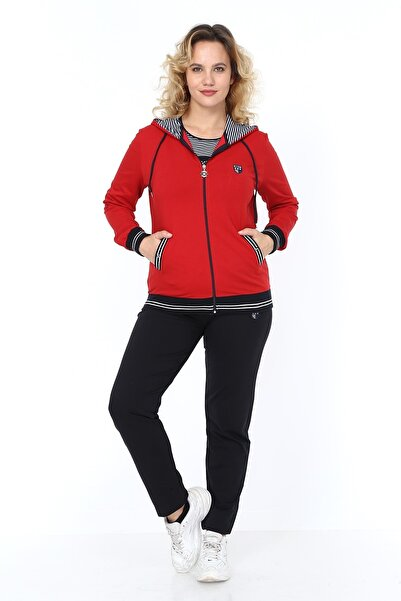 Heves Giyim Kadın Kırmızı Büyük Beden Marin Desenli 3'lü Eşofman Takım