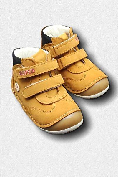 Minican Unisex Bebek Hardal Sarı Hakiki Deri Ortopedik İlk Adım Ayakkabısı