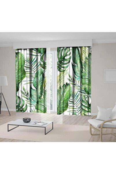 Henge Home Yeşil Tropikal Palmiye Ve Eğreltiotu Yaprakları Fon Perde