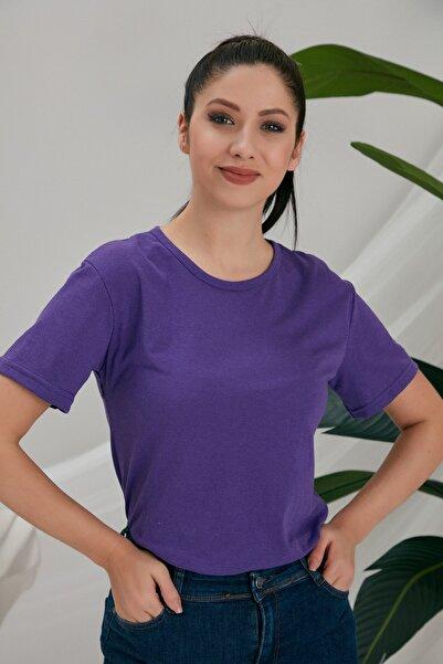 CATSPY Kadın Mor Basic Tshirt