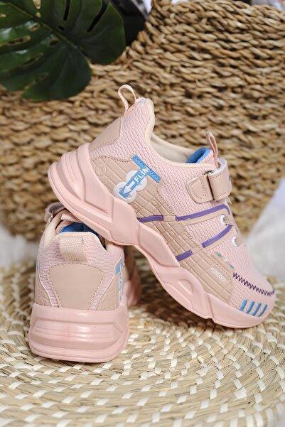 Oksit Kız Çocuk Pembe Mc Kimberly Çizgi Detaylı Örgülü Kalın Taban Sneaker