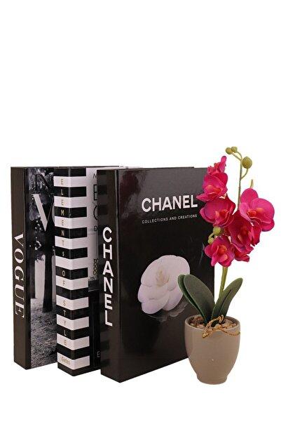 notiyatro Elements Chanel Vogue Dekoratif 3'lü Kitap Kutusu Set
