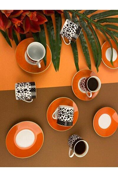 Sembol Orange Leopar Desenli 6'lı Porselen Fincan Seti Coffea-550