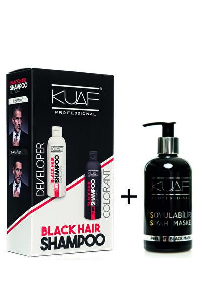 Kuaf Saç Siyahlaştırıcı Siyah Şampuan 250ml 250ml Black Hair Shampoo Soyulabilir Siyah Maske 250ml