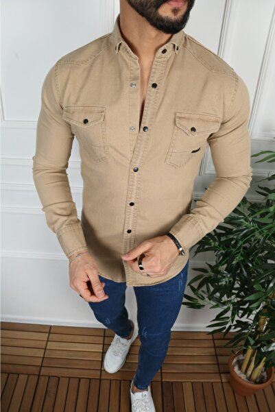 YXC Erkek Taş Rengi Kot Gömlek
