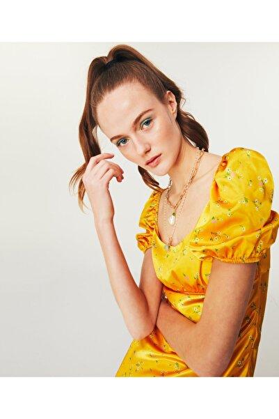 Twist Çiçek Desen Midi Elbise