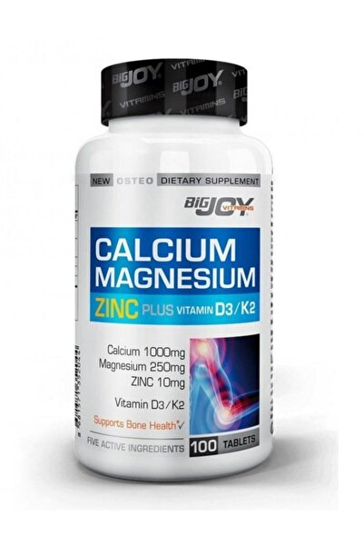 Big Joy Calcium Magnesıum Zınc Plus Vitamin D3 + Vitamin K2 100 Tb ( 2 Kutu )