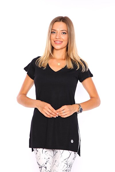 Superstacy Kadın Siyah V Yaka Yırtmaçlı Tunik Kadın Tshirt