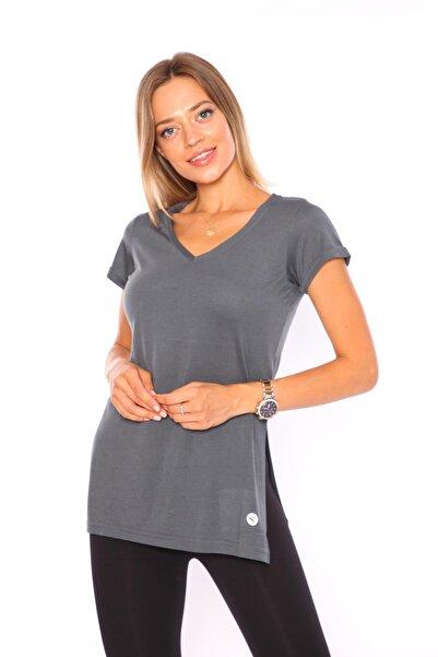 Superstacy Kadın Füme V Yaka Yırtmaçlı Tunik Tshirt