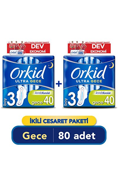 Orkid Ultra Extra Gece Cesaret Paket Ped 80'li