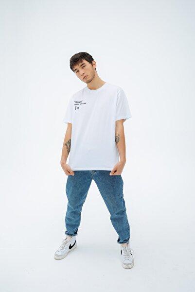 Fineapple Erkek Beyaz Baskılı Oversize Kısa Kol  T-shirt
