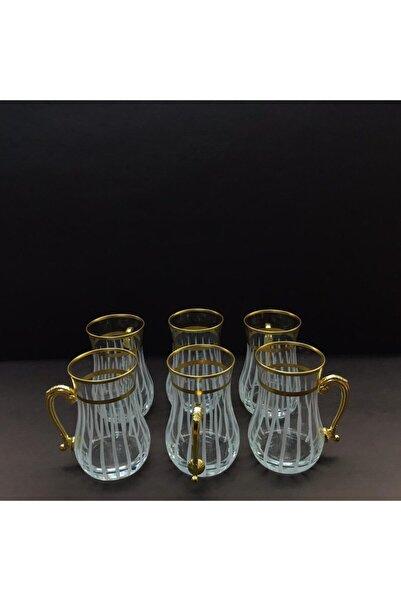 Esbeycam Gold Kulplu 6 Parça Çay Bardağı
