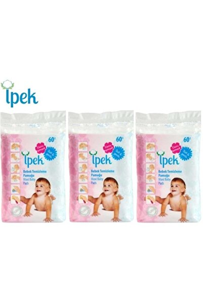 İpek Bebek Temizleme Pamuğu 180 Adet (3pk*60)
