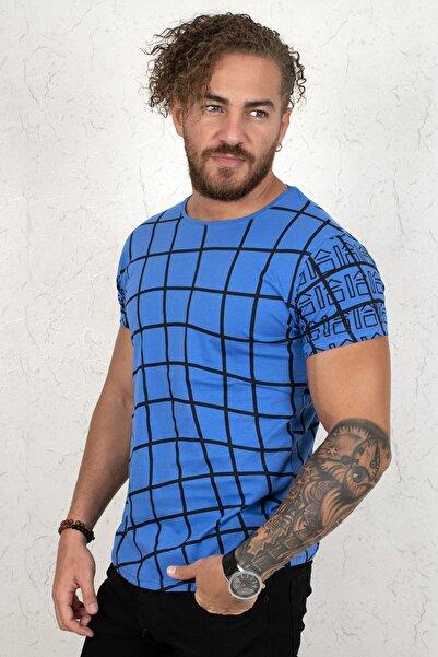 DeepSEA Erkek Mavi Kare Desenli Kısa Kol T-Shirt 2002023