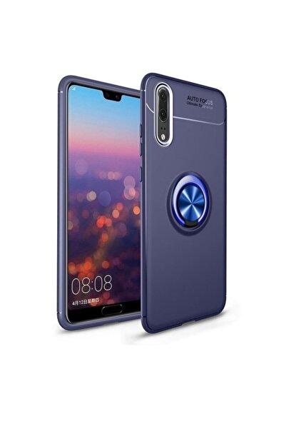 Huawei Teleplus P20 Pro Ravel Yüzüklü Silikon Kılıf Lacivert + Nano Ekran Koruyucu