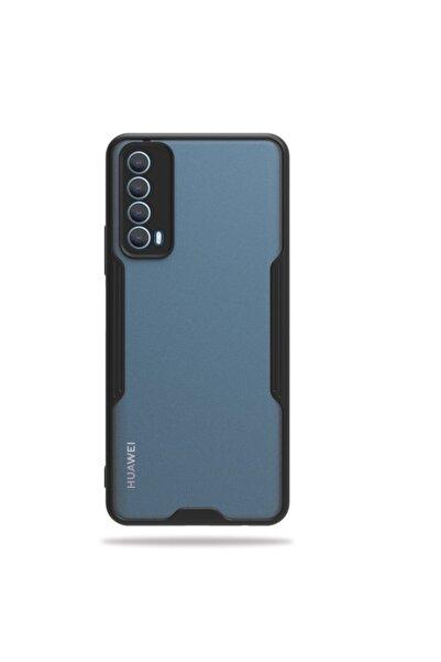 Huawei Teleplus P Smart 2021 Kılıf Kamera Korumalı Parfe Bumper Silikon Siyah