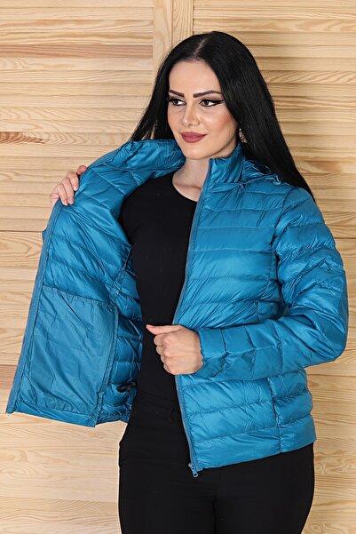 MAGNOLIA FASHİON Kadın Mavi Kapüşonlu Ultra Hafif Kaz Tüyü Mont