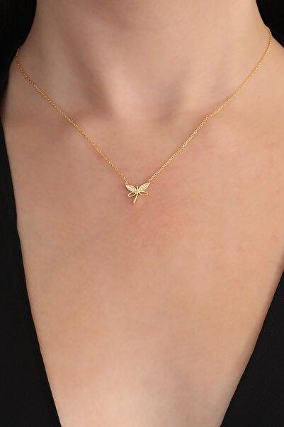Bilsen Store Kadın Tamamı Saf Orjinal 925 Ayar Gümüş Altın Kaplama Minimal Yusufçuk Kolye