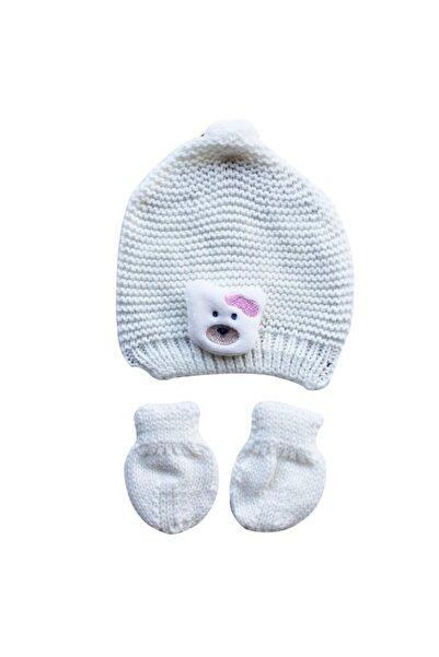 bebegen Unisex Bebek Beyaz Krem Pembe Ayıcıklı Eldiven Bere Set