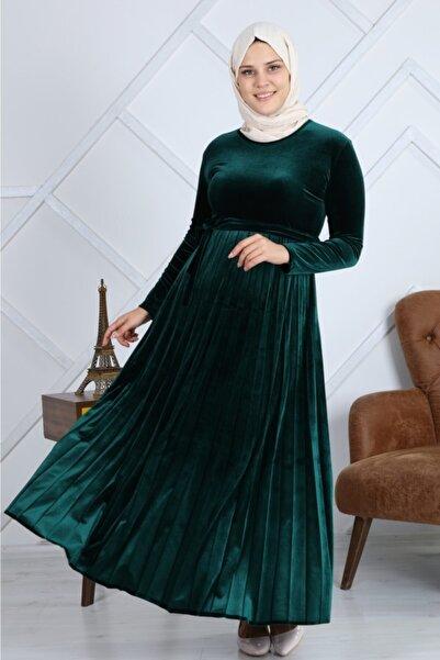 melike trend Kadife Pileli Elbise