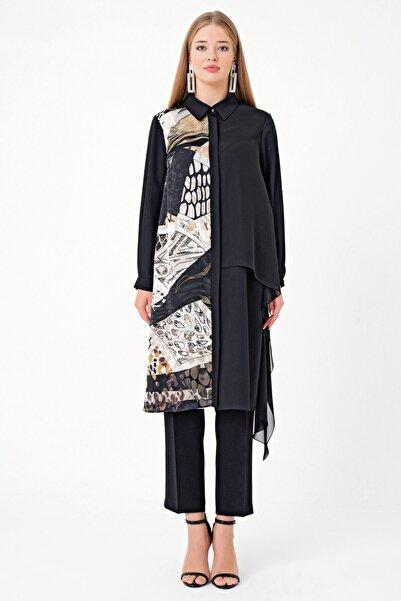 Aker Kadın Siyah Desenli Tunik Y155200504