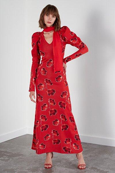 JOIN US Kadın Kırmızı Multi Çiçekli Balon Kol V Yaka Triko Elbise