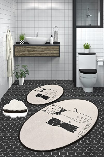 Chilai Home Little Cats Dijital 2'li Set Banyo Halısı Paspas
