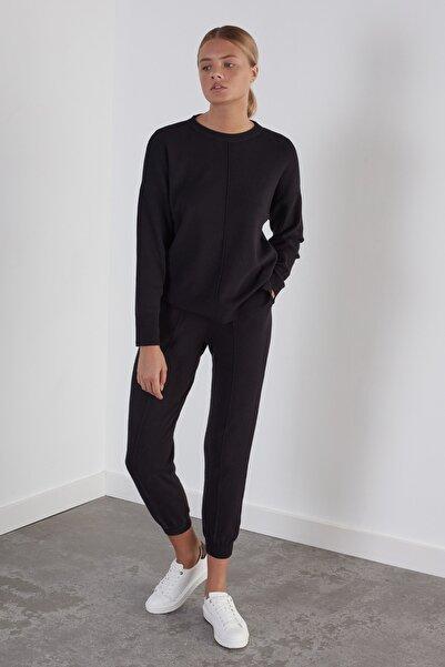 JOIN US Kadın Siyah Beli ve Paçası Lastikli Cepli Triko Pantolon