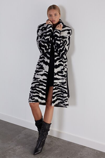 JOIN US Kadın Siyah Zebra Şal Yaka Beli Kemerli Triko Hırka