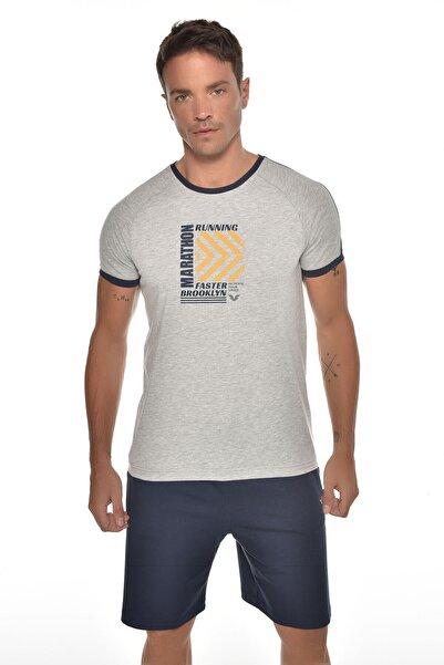 bilcee Erkek Gri  Baskılı Kısa Kol T-shirt Gw-9235