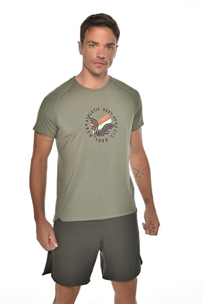 bilcee Erkek Yeşil Baskılı Kısa Kol T-shirt Gw-9232