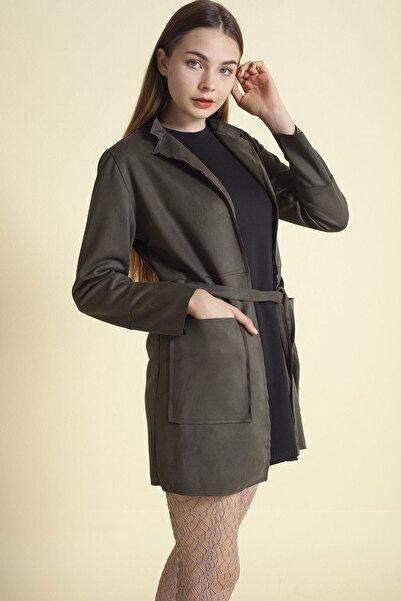 Fashion Friends Beli Kuşaklı Uzun Süet Ceket Haki