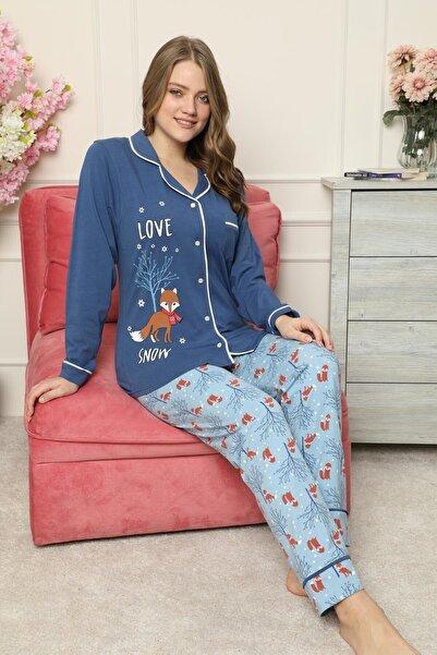 Mossta Kadın Lacivert Kışlık Düğmeli Pijama Takımı