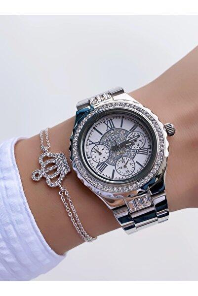 Sebago Gümüş Renk Beyaz Kadran Simli Taşlı Model Kadın Kol Saati