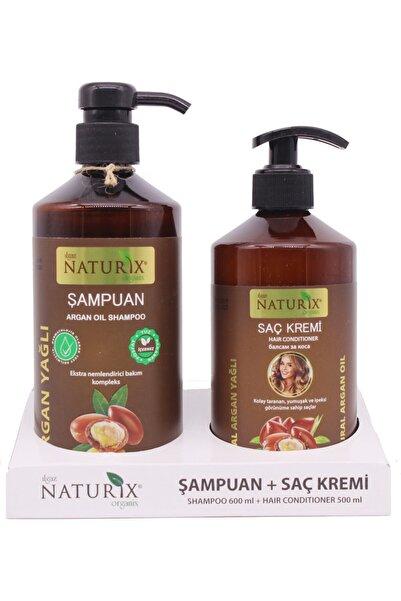 Naturix Tuzsuz Şampuan 2'li Doğal Argan Yağlı Şampuan 600 ml 500 ml Argan Yağlı Saç Kremi