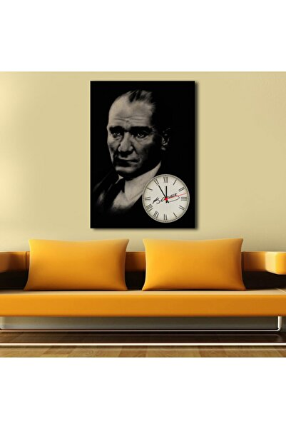 Luna Concept Atatürk Temalı Saatli Tek Parça Kanvas Duvar Saati
