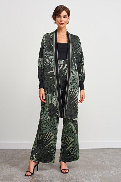 JOIN US Kadın Yaprak Desenli Hırka-Yeşil 2020S124-YESIL