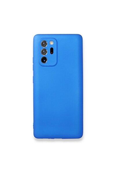 Samsung Teleplus Galaxy Note 20 Ultra Kılıf Kamera Korumalı Mat Silikon Mavi + Tam Kapatan Nano Ekran Koruyu