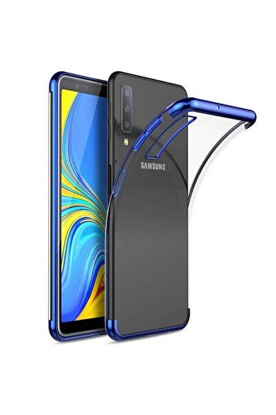 Samsung Teleplus Galaxy A7 2018 Lüks Lazer Silikonlu Kılıf Mavi