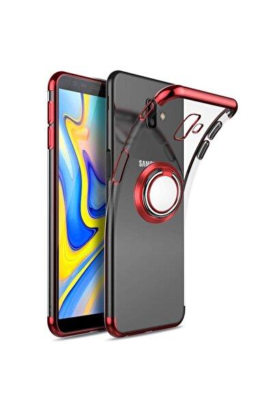 Samsung Teleplus Galaxy J6 Plus Lazer Yüzüklü Silikon Kılıf Kırmızı