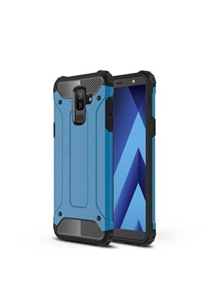 Samsung Teleplus Galaxy A6 2018 Plus Çift Katmanlı Tank Kapak Kılıf Mavi