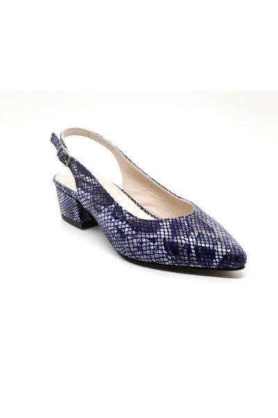 Soft Trend Kadın Lacivert Alçak Topuklu Yılan Baskı Ayakkabı