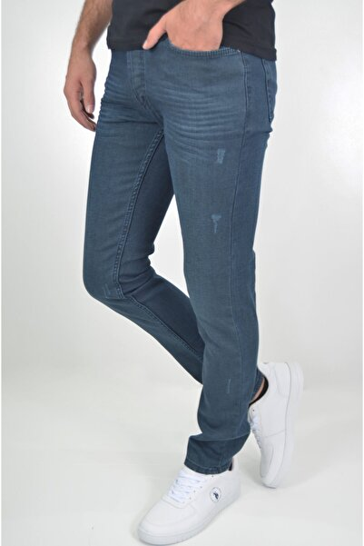 ds danlıspor Erkek Tint Mavisi Çizgili Likralı Yıpratmalı Denimstar Kot Pantolon