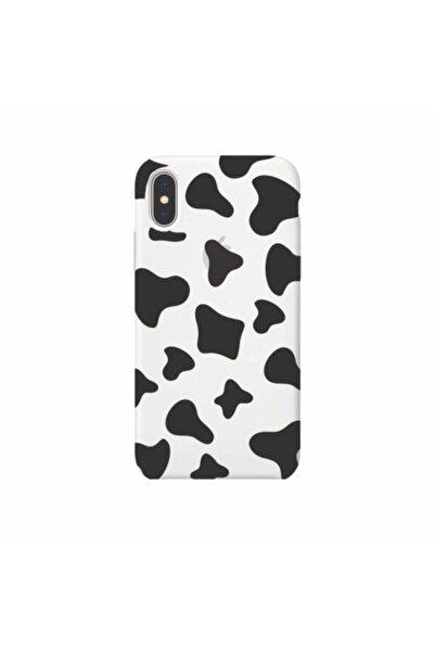 Milky Case Iphone Xs Max Inek Desenli Baskılı Beyaz Silikon Telefon Kılıfı