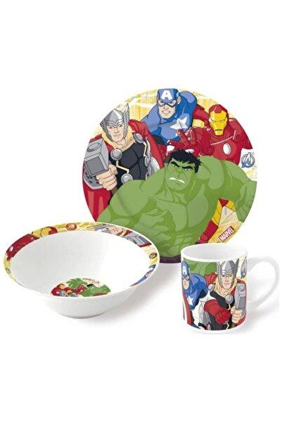 DISNEY Avengers 3lü Porselen Tabak Bardak Kase Çoçuk Mama Seti