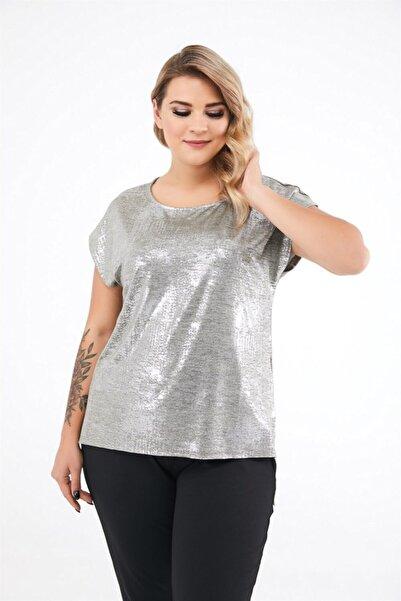 Seamoda Kadın Gümüş Sim Baskılı Yırtmaçlı Bluz