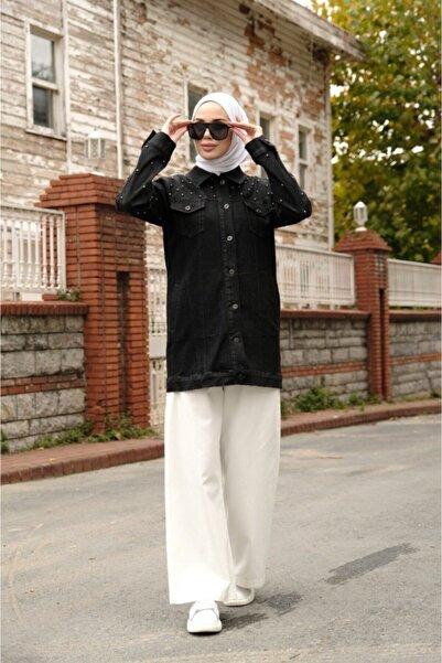 Neways Kadın Incili Siyah Kot Ceket
