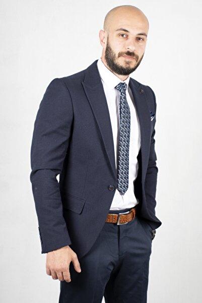DeepSEA Erkek Lacivert Kendinden Desenli Slim Fit Blazer Ceket 2000150