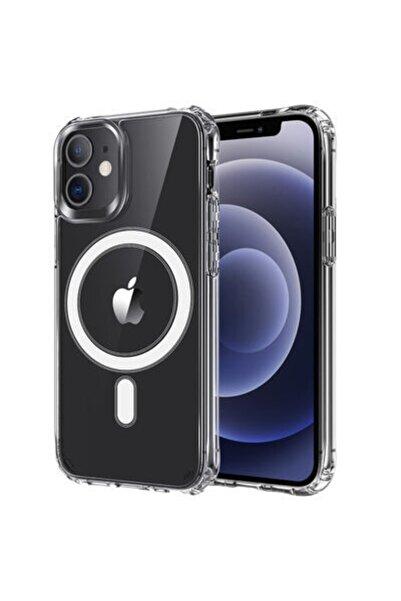 zore Apple Iphone 12 Mini Kılıf Kablosuz Şarj Destekli Kamera Korumalı Şeffaf Magnetic Tacsafe Kapak