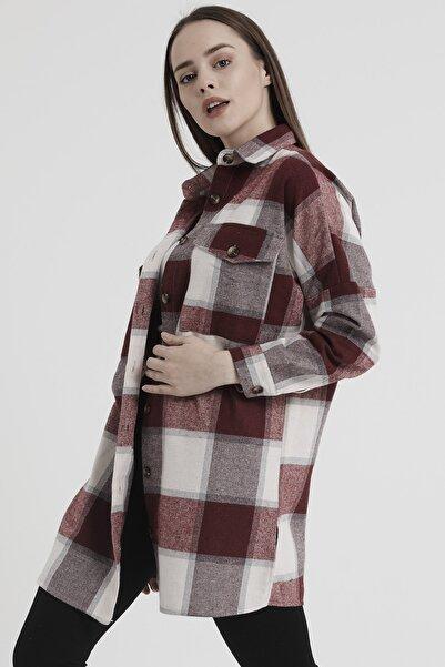 Giyinsende Kadın Bordo Ekose Desenli Oversize Oduncu Gömleği